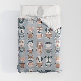 Doggie Coffee and Tea Time I // blue grey Duvet Cover