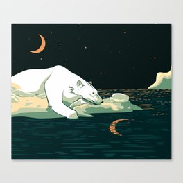 Polar Bear and the Moon Canvas Print