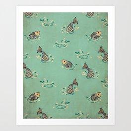 Jumping Fish on Aqua - Kitschy Fish in Mid Century Style Art Print