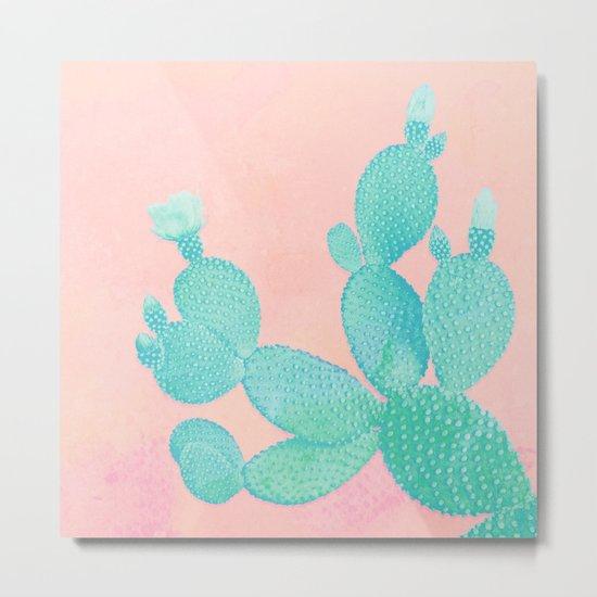 Pastel Cactus Metal Print