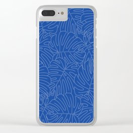 Monstera leaves - in blue-painted style (old Hungarian folk art) Clear iPhone Case