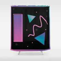 disco Shower Curtains featuring disco by Hannah Siegfried