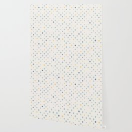 LOTS OF DOTS / milky white / phthalo blue / yellow ochre Wallpaper