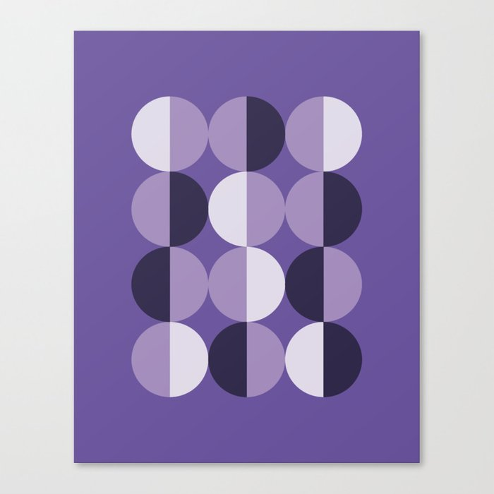 Retro circles grid purple Leinwanddruck