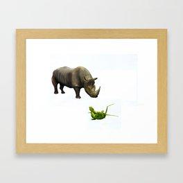 Rhinoceros & Geckos Framed Art Print