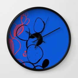 Blue cactus Wall Clock