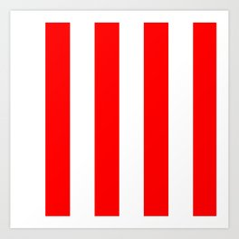 Large Red and White Candy Cane Vertical Stripes Art Print