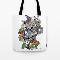 mercedes Tote Bags featuring Germany Doodle by Rebecca Bear
