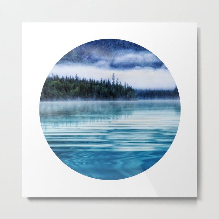 Blue Tranquil Lake Scenery Circle Metal Print