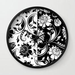 Reversible black and white vintage damasks Wall Clock