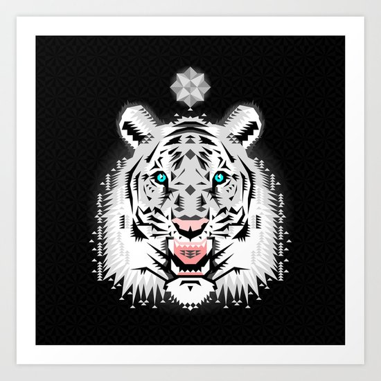 Silver Geometric Tiger Art Print