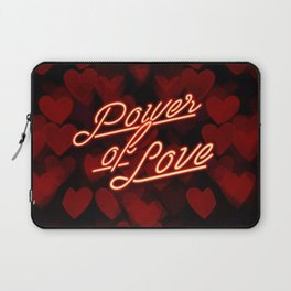 Inspirational love quotes retro neon sign, Valentine's red black hearts bokeh pattern Laptop Sleeve