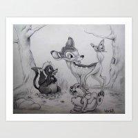 bambi Art Prints featuring Bambi by Lynsie Petig