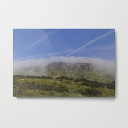 Mountain Coming Out of Fog Metal Print
