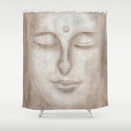 Girl with eyes closed Shower Curtain