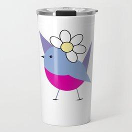 Bird with flower. Funny illustration Travel Mug