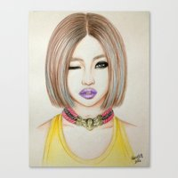 2ne1 Canvas Prints featuring Minzy Gong (2NE1) by Hileeery