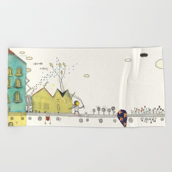 Walking Downtown Beach Towel