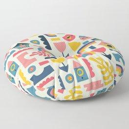 Scandinavian Birds Flowers Rainbows Kids Pattern Floor Pillow