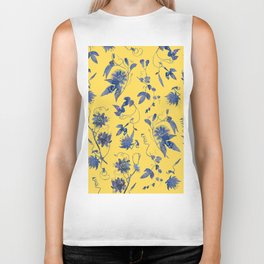 Elegant Blue Passion Flower on Mustard Yellow Biker Tank
