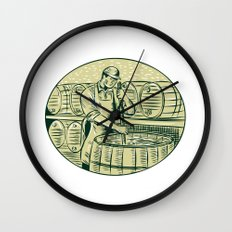 Brewer Brewing Beer Etching Wall Clock