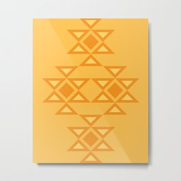 Kanatitsa - Symbol of Eternity, Peace, Protection, Prosperity |  Eastern European Ornaments, Golden and Hot Orange Colors Metal Print