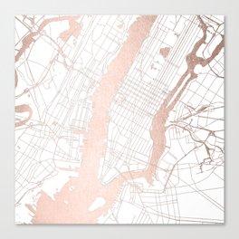 New York City White on Rosegold Street Map Canvas Print
