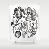 alchemy Shower Curtains featuring Lesser Alchemy by Polkip