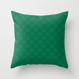 Teal Green on Cadmium Green Spirals Throw Pillow