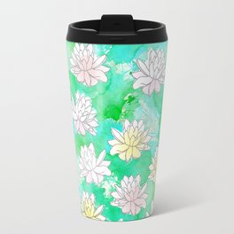 Water Lilies in a pond Travel Mug