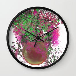 Happy Plant in Hot Pink and Green Wall Clock