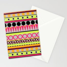 Neon and Grey Aztec stripes Stationery Cards