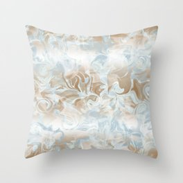 Watercolour in Blue Gold Throw Pillow