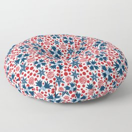 Ziggy Floral Red White and Blue  Floor Pillow
