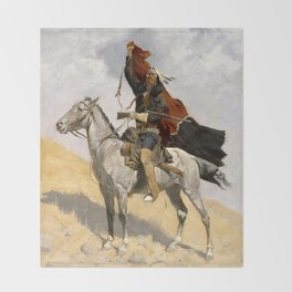"Frederic Remington Western Art ""The Blanket Signal"" Throw Blanket"