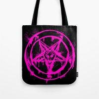 pentagram Tote Bags featuring Pink Pentagram by brutalitees