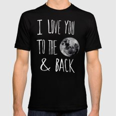 I Love You to the Moon Black MEDIUM Mens Fitted Tee