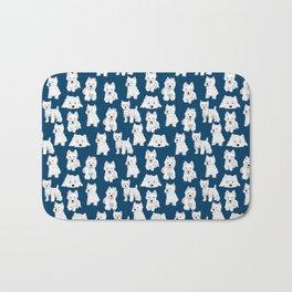 Westies on Blue Bath Mat
