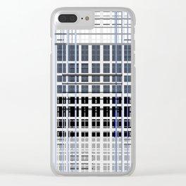 white blue plaid Clear iPhone Case