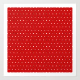 Red and White cross sign pattern Art Print