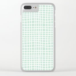 edgewater mint random cross hatch lines checker pattern Clear iPhone Case