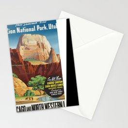 Vintage poster - Zion National Park Stationery Cards