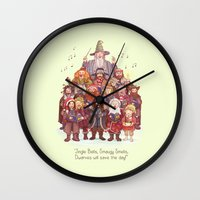 middle earth Wall Clocks featuring The loudest carollers in Middle Earth by Alicia MB