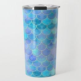 Aqua Pearlescent & Gold Mermaid Scale Pattern Travel Mug