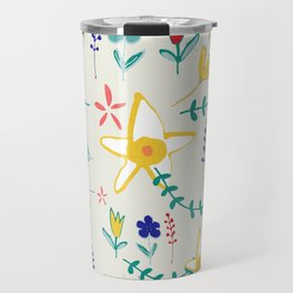 Floral The Tortoise and the Hare is one of Aesop Fables beige Travel Mug
