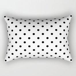 Classic Large Black Polkadot on White Rectangular Pillow