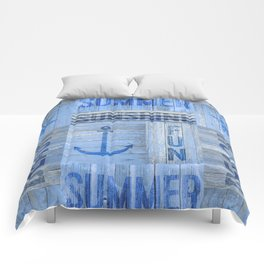 Blue Summer Beach Wood Comforters