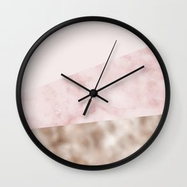 Urban blush marble geo Wall Clock