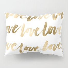 Gold Love Quote Pattern Typography Script 2 Pillow Sham