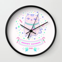 pink cat christmas gift idea girl meowy catmas Wall Clock
